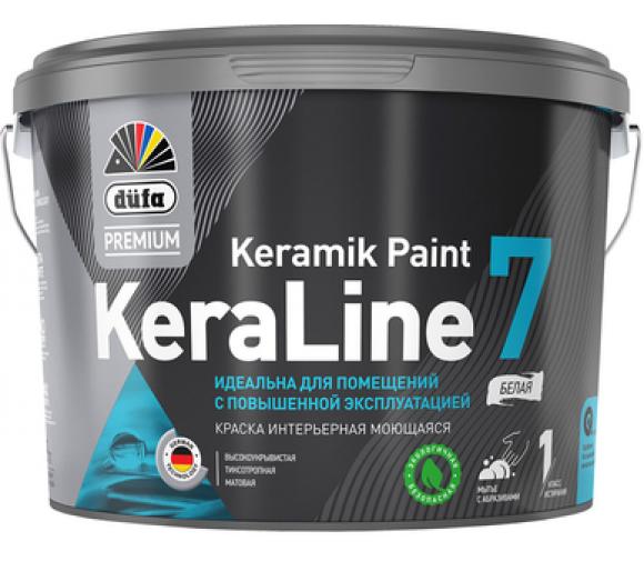 Краска для стен и потолков моющаяся Düfa Premium KeraLine Keramik Paint 7 матовая белая база 1 2,5 л