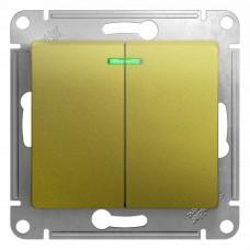 Механизм выключателя Schneider Electric Glossa GSL001053 двухклавишный с индикатором фисташковый