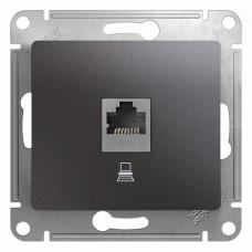 Механизм компьютерной розетки Schneider Electric Glossa GSL001381K RJ45 одноместный графит