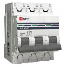 Автоматический выключатель EKF Proxima ВА 47-63 3P 4,5 кА 20А С