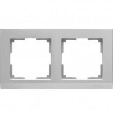 Рамка двухместная Werkel Stark WL04-Frame-02 серебряная
