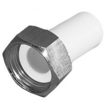 Переходник с накидной гайкой PPRC FDplast 25 мм 1 дюйм с внутренней резьбой белый