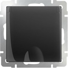 Механизм розетки Werkel WL08-SKGSC-01-IP44 одноместный с заземлением и защитными шторкам с крышкой черный матовый