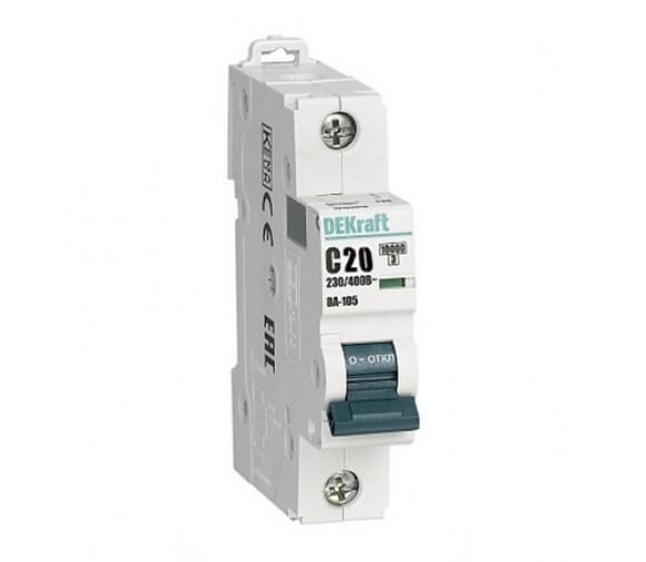 Автоматический выключатель DEKraft ВА-105 1п C 20А 10кА