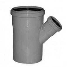Тройник канализационный ПВХ Хемкор 3.2 Ду 110х50х110 мм 45 градусов с кольцом серый