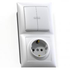 Блок розетки с выключателем Кунцево-Электро Селена БКВР-421 двухклавишный белый