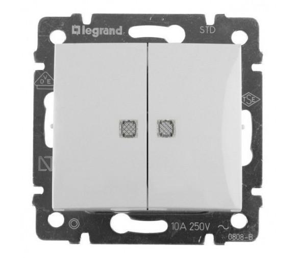 Механизм выключателя Legrand Valena 774428 двухклавишный c индикатором белый