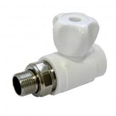 Кран шаровой FDplast 8569 PPR 20х3/4 НР для радиатора белый