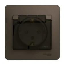 Розетка Schneider Electric Glossa GSL000848 одноместная с заземлением и защитными шторками с крышкой шоколад