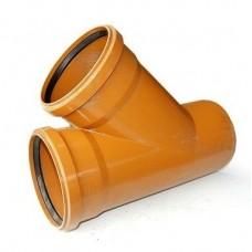 Тройник канализационный ПВХ 110х110 мм 45 градусов с кольцом рыжий