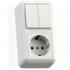 Блок розетки с выключателем Кунцево-Электро Оптима БКВР-428 двухклавишный белый