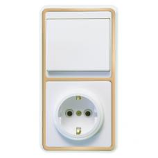 Блок розетки с выключателем Кунцево-Электро Бэлла БКВР-031 одноклавишный белый с золотом