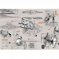 Фотообои бумажные Komar Star Wars Blueprints 8-493 3,68х2,54 м