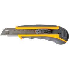 Нож 18 мм пластиковый обрезиненный корпус автоматическая фиксация, 8 лезвий Pobedit