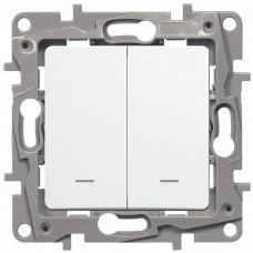 Механизм выключателя Legrand Etika 672204 двухклавишный с индикатором белый