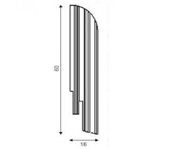 Плинтус шпонированный DL Profiles С9 Дуб Кофе 2400х60х16 мм