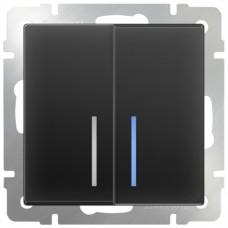 Механизм выключателя Werkel WL08-SW-2G-LED двухклавишный с индикатором черный матовый