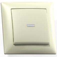 Выключатель Кунцево-Электро Селена С110-395 одноклавишный с подсветкой Слоновая кость