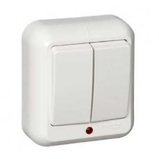 Выключатель Schneider Electric Прима A56-007M-B двухклавишный с индикатором белый