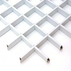 Потолок грильято Cesal Классический Стандарт белый 50х50х40 мм