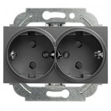 Механизм розетки Panasonic Karre Plus WKTT02052DG-RES двухместный с заземлением темно-серый