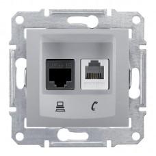 Механизм телефонно-компьютерной розетки Schneider Electric Sedna SDN5100160 RJ11+RJ45 двойной алюминиевый