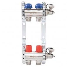 """Коллекторная группа Uni-Fitt 32315N060502 1""""х3/4"""" на 2 выхода с регулировочными и термостатическими вентилями"""
