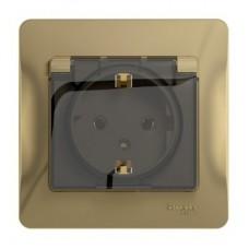 Розетка Schneider Electric Glossa GSL000446 одноместная с заземлением и защитными шторками с крышкой титан
