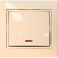 Выключатель одноклавишный с подсветкой С/У бежевый