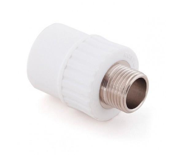 Муфта комбинированная PPR Remsan 448725 20 мм 1/2 дюйма с наружной резьбой белая