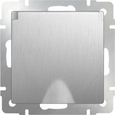 Механизм розетки Werkel WL09-SKGSC-01-IP44 одноместный с заземлением и защитными шторками с крышкой серебряный рифленый
