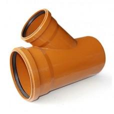 Тройник канализационный ПВХ 160х110 мм 45 градусов с кольцом рыжий