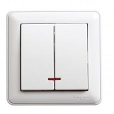 Выключатель Schneider Electric W59 VS516-251-18 двухклавишный с индикатором белый