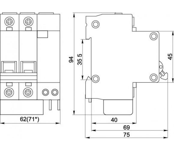 Автоматический выключатель дифференциального тока IEK АД12М 2Р С20  30мА
