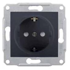 Механизм розетки Schneider Electric Sedna SDN3000170 одноместный с заземлением и защитными шторками графит