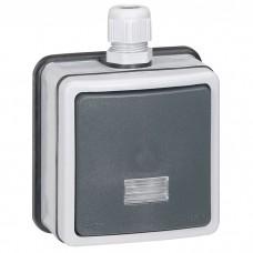 Переключатель Legrand Plexo 090460 одноклавишный с индикатором серый