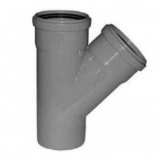 Тройник канализационный ПП Ду 50х50х50 мм 45 градусов с кольцом серый