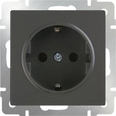 Механизм розетки Werkel WL07-SKGS-01-IP44 одноместный с заземлением и защитными шторками серо-коричневый