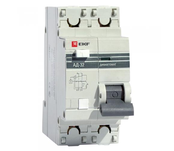 Автоматический выключатель дифференциального тока EKF Proxima АД 32 1P+N 4,5 кА 32А 30мА