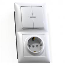 Блок розетки с выключателем Кунцево-Электро Селена БКВР-424 двухклавишный белый