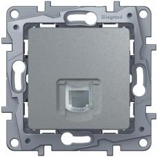 Механизм телефонной розетки Legrand Etika 672440 RJ11 проходной одноместный алюминий