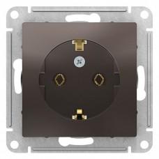 Механизм розетки Schneider Electric AtlasDesign ATN000643 одноместный с заземлением мокко