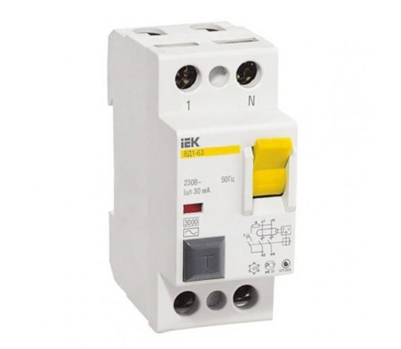 Автоматический выключатель дифференциального тока IEK ВД1-63 2P 50А 30мА