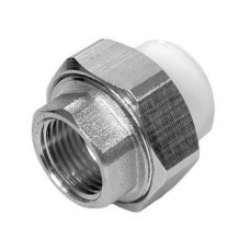 Муфта разъемная PPR Политэк PPR 20 мм 1/2 дюйма внутренней резьбой белая