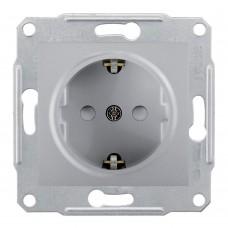Механизм розетки Schneider Electric Sedna SDN3000160 одноместный с заземлением и защитными шторками алюминий