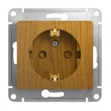 Механизм розетки Schneider Electric Glossa GSL000545 одноместный с заземлением и защитными шторками дуб