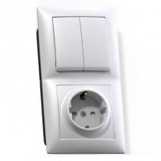 Блок розетки с выключателем Кунцево-Электро Селена БКВР-415 двухклавишный белый