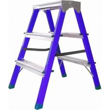 Стремянка сталь. с алюмин. ступенями, двухсторонняя 3 ст.Политех