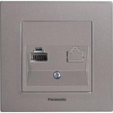 Розетка телефонная Panasonic Karre Plus WKTT04022DG-RES RJ11 двухместная темно-серая