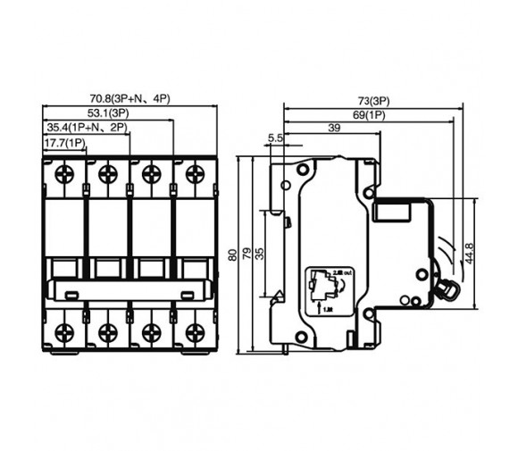 Автоматический выключатель DEKraft ВА-101 3п C 20А 4.5кА
